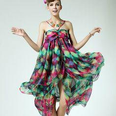 3c5e16a6ef0a Asymmetric Design Elegant Print Style Chiffon Slip Dress Casual Dresses For  Women
