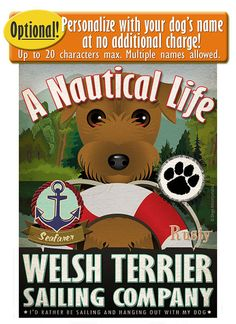 Terrier Galés vela empresa Original Art Print por DogsIncorporated