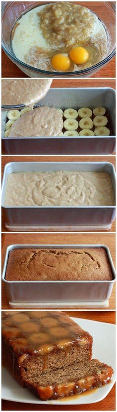 How To Caramel Banana Upside Down Bread