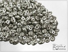 5 g Jet Old Silver Czech Miniduo Beads 2x4 mm (9860)