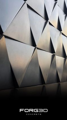The SIXTY concrete tile is a triangular design with a plane slanted face and 3 variable corners, which amplifies its three dimensional identity. It can be rotated into many different arrangements forming complex geometric patterns. 3d Wall Tiles, Wall Tiles Design, Ceiling Design, Decorative Wall Panels, 3d Wall Panels, Interior Architecture, Light Architecture, Interior Design, Wall Patterns