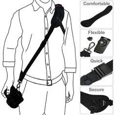 ANRIS F1S Quick Rapid Shoulder Sling Belt Neck Strap & Screw Mount pour caméra DSLR SLR DV Black