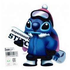 Stitch with Snowboard Big Transparent Sticker
