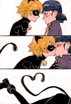 This ship is not okay with me. Chat is NOT in love with Marinette. Marinette is NOT in love with Chat. Adrien/Chat loves Ladybug, and Marinette/Ladybug loves Adrien. This ship is almost as far as you can get from okay. Comics Ladybug, Meraculous Ladybug, Ladybug Anime, Lady Bug, Tikki Y Plagg, Manga Romance, Adrien X Marinette, Ladybug Und Cat Noir, Catty Noir