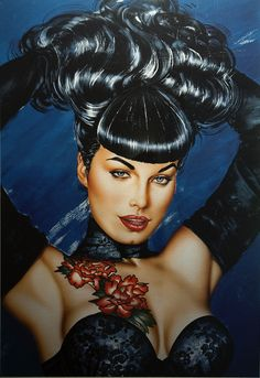 Bettie Page - Tattoo Limited Edition Giclee By Olivia De Berardinis