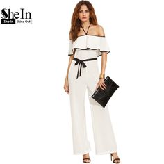 SheIn Womens Romper Jumpsuit Summer 2016 Black and White Halter Neck Short Sleeve Ruffle Tie Waist Elegant Jumpsuit