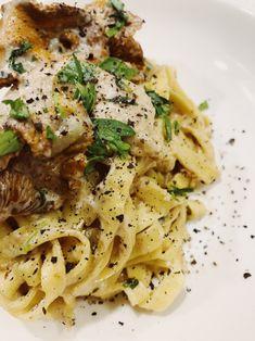 Kremet kantarellpasta med estragon – Tiril Viktoria Spaghetti, Ethnic Recipes, Food, Essen, Meals, Yemek, Noodle, Eten