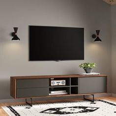 Modern Tv Room, Modern Tv Units, All Modern, Tv Escondida, Tv Unit Interior Design, Solid Wood Tv Stand, Walnut Tv Stand, Living Room Tv, Living Room Furniture