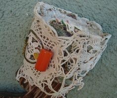 Brocade Bead and Lace Altered Cuff by suchandsortaltered on Etsy, $35.00