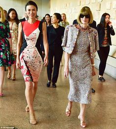 Last minute preparations? Anna Wintour (right) was spotted walking alongside businesswoman Wendi Deng Murdoch (left) during the press preview of the event