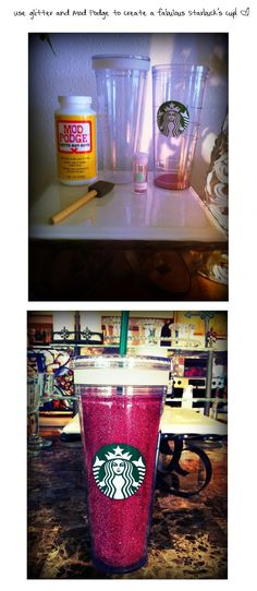 Glitter + Mod Podge =  A Fabulous Starbucks Cup! ~ http://blog.justeen.us