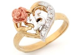 15 quinceanera ring | 10k Tri-color Gold 15 Anos Quinceanera Flower CZ Ring