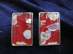 Vintage Mod Red Lucite Confetti Clip Earrings by ToadSuckTreasures, $20.00