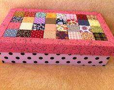 Caixa rosa retalhos