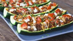 Stuffed Zucchini - I've made these a million times for an easy yummy low carb dinner.