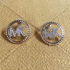 MK Gold & Rhinestone Stud Earrings These Michael Kors look alikes are trendy and budget friendly. Circle is 1 inch in diameter. Jewelry Earrings