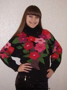 Вязаный джемпер «Цветущий рай» - женская одежда,осенний джемпер,осенняя мода