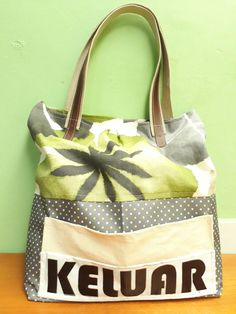 "Keluar same as ""out"". Canvas with handel weebing n combination imitation leather. Gym Bag, Burlap, Reusable Tote Bags, Canvas, Leather, Fashion, Tela, Moda, Hessian Fabric"