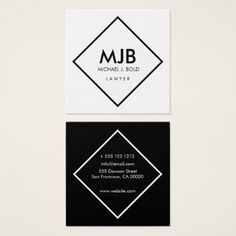 #professional - #Minimalist Professional Elegant  White and black Square Business Card