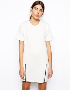 Image 1 ofASOS Shift Dress with Zip Sides in Texture