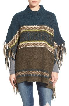 Free People 'Labyrinth' Stripe Colorblock Poncho available at #Nordstrom