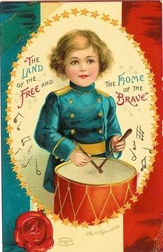 Vintage Patriotic Postcard: The land of the free and the home of the brave.