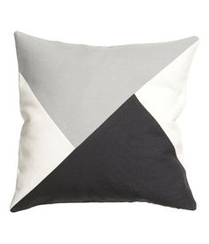 Color-block cushion cover in a woven cotton blend. Concealed zip. Size 20 x 20 in.