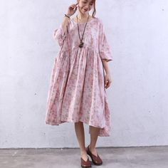 Floral Splicing Summer Loose Pink Dress