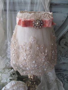 Lace Lamp Shade with Velvet Ribbon and Vintage by myplace4tea, $40.00