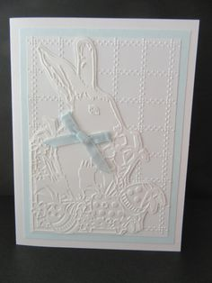 Easter Greeting Card  Embossed Bunny by PatsPaperCrafts on Etsy