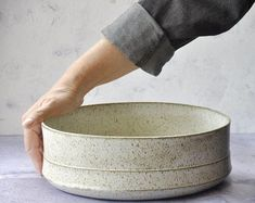 FreeFoldingContemporary Handmade Ceramic Studio Modern Serving Trays, Serving Bowls, Ceramic Planters, Ceramic Bowls, Modern Fruit Bowl, Rustic Bowls, Ceramic Baking Dish, Pottery Gifts, Rustic Blue