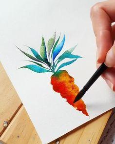Watercolor Art Lessons, Watercolor Paintings For Beginners, Watercolor Techniques, Watercolor Pencil Art, Watercolor Flowers Tutorial, Watercolour Tutorials, Diy Canvas Art, Watercolor Illustration, Flower Art