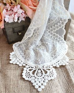 Ivory Lace Table Runners and Lace Ribbons at Afloral