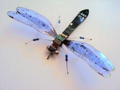 The Rich Blue Circuit Board Dragonfly by DewLeaf on Etsy