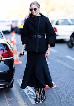 Olivia Palermo chic in belted coat and lace-up booties #StreetStyle