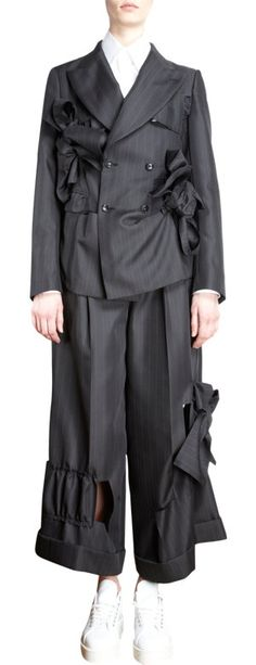 Comme des Garcons Bow Detailed Pinstripe Double Breasted Jacket at Barneys.com
