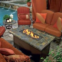 Rectangular Propane Fire Pit Table Coffee Spas