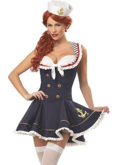 Sexy Nautical Marine Sailor Costume Dress /w Hat Fancy Party halloween @FE1618 | eBay