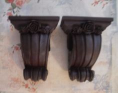 PAIR PRETTY  CURTAIN ROD SCONCES WITH ROSES  FRENCH~VINTAGE STYLE~SHABBY…