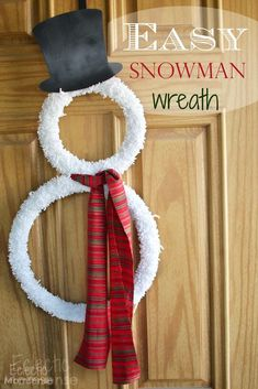 Snowman Wreath with just a few supplies. Make this adorable wreath in under an hour.