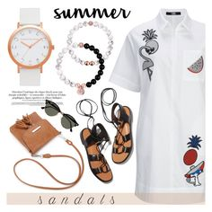 """""""The Cutest Summer Sandals"""" by christianpaul ❤ liked on Polyvore featuring Rosetta Getty and Ray-Ban"""