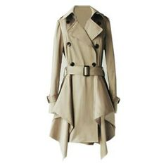 Lapel Buttoned Belted Asymmetric Khaki Trench Coat| Pariscoming #pariscoming your personal style online store. #outfit #stylist #Styling #streetstyle #fashionblog #fashiondiaries #fashiondiary #WearIt #WhatYouWear ✿ ❀ like it? buy now ❀ ✿