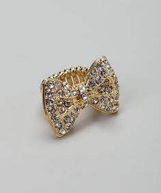 Love--Gold Simulated Diamond Bow Stretch Ring
