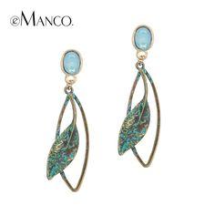 EManco Populaire Nu Etnische Vintage Leaf Drop Dangle Oorbellen voor Vrouwen Lichtblauw Crystal Opal Antieke Brons Sieraden