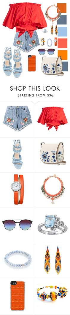 """Ruffle Top - VI"" by mary-kay-de-jesus ❤ liked on Polyvore featuring House of Holland, Saloni, French Connection, Baume & Mercier, Ellen Conde, Ray-Ban, Laura Ashley, Sydney Evan, Forest of Chintz and Casetify"