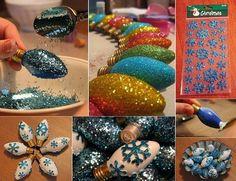 DIY Glittered Christmas Light Bulb Ornaments