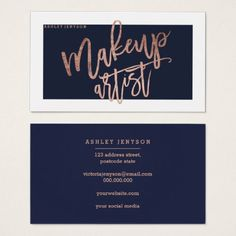 Makeup artist typography navy blue rose gold business card - artists unique special customize presents
