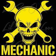 Mechanic Skull 2 with Wrenches Vinyl Decal with Hammer and Nail | LilBitOLove - Housewares on ArtFire