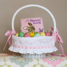 BUNNY Easter Basket Liner Personalized Easter liner fits Pottery Barn Sabrina baskets by tadacreations on Etsy