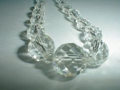cut crystal necklace vintage clear by fadedglitter42263 on Etsy, $48.00